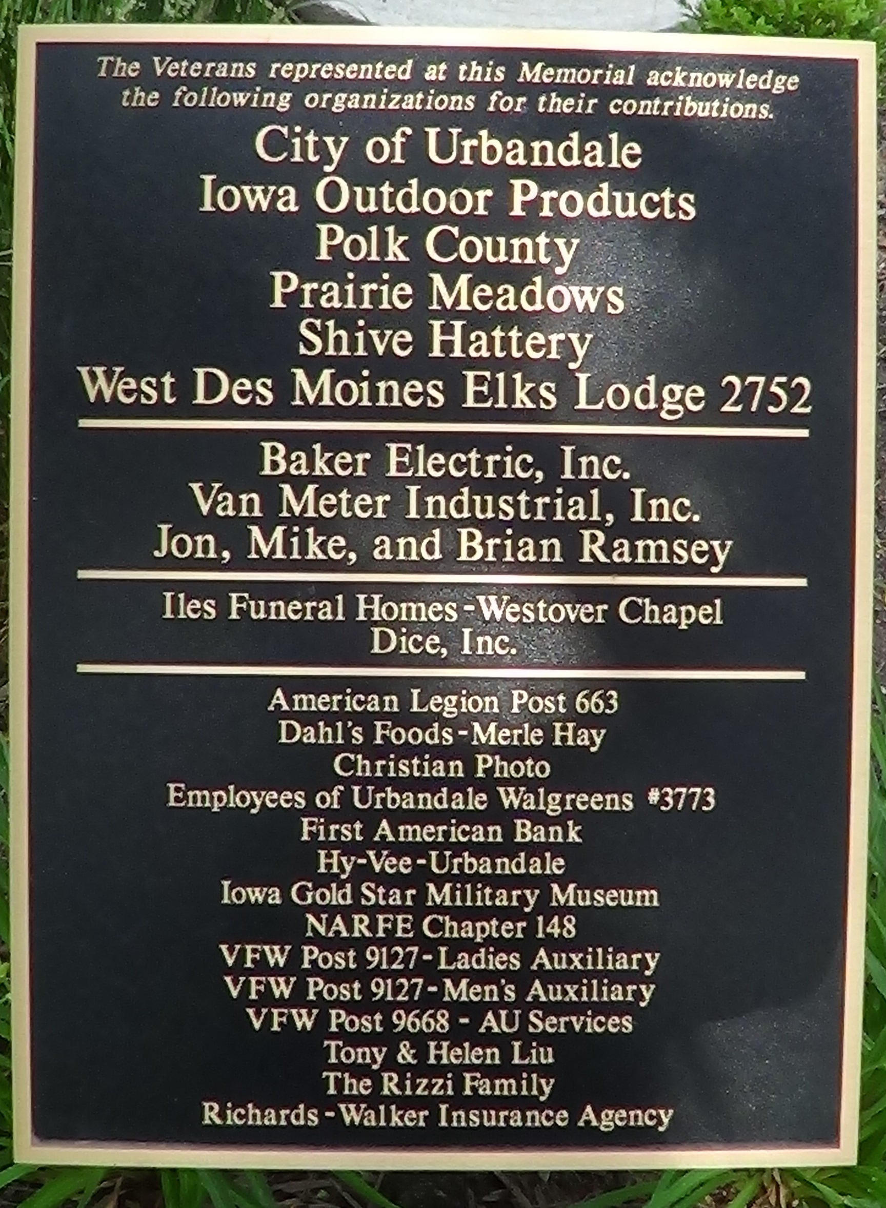 Veterans Plaque