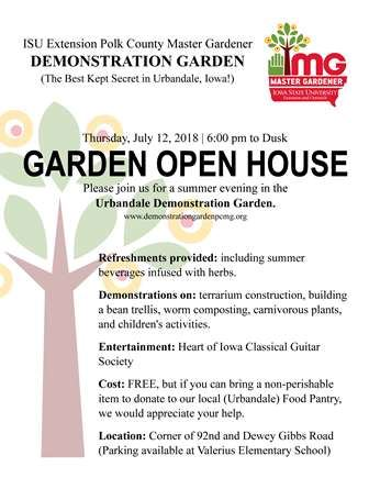 Graphic for Master Gardeners open house event on July 12th