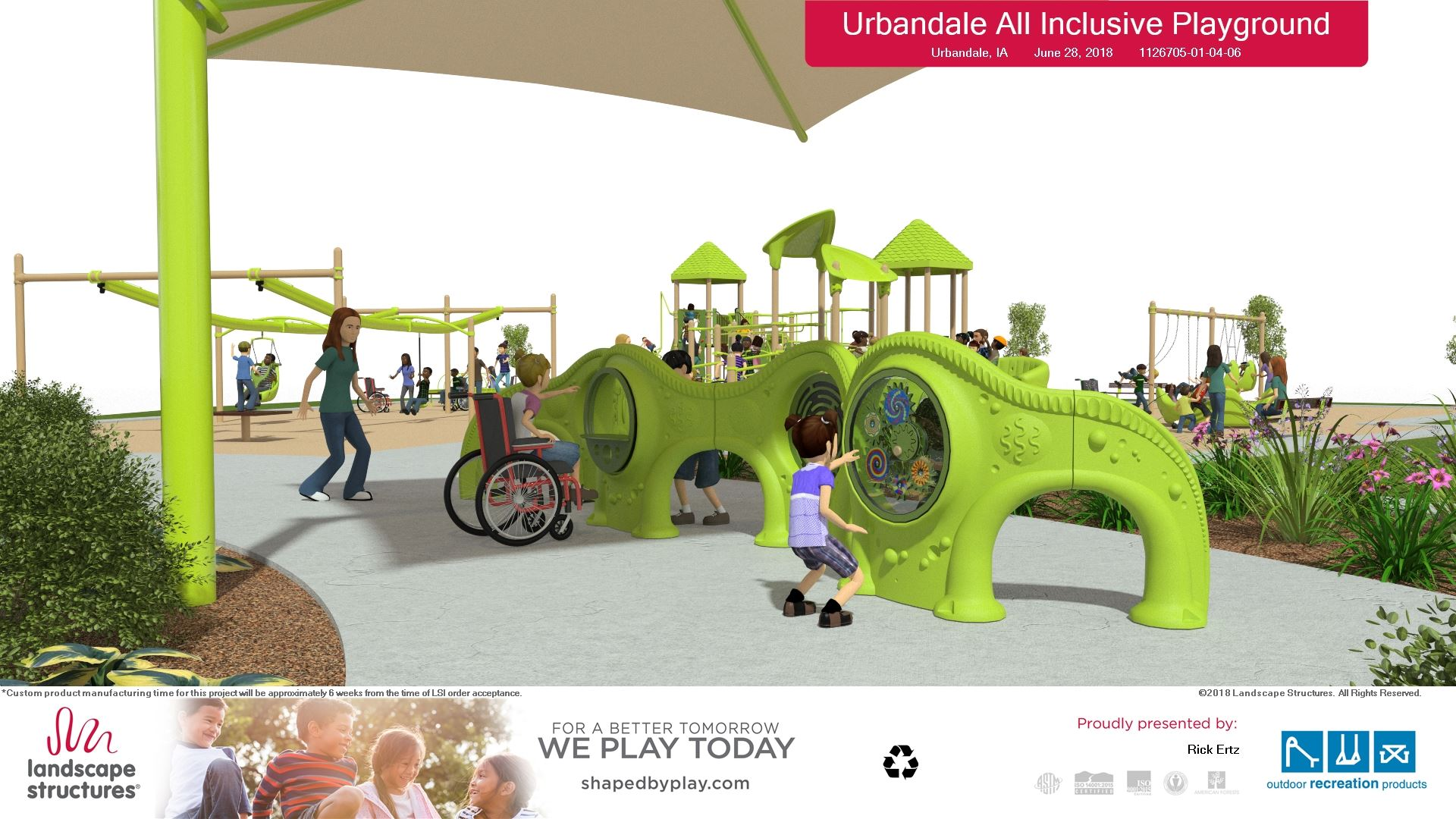 7-5-18  Playground rendering -view 3 - by plaza -  Landscape Structures