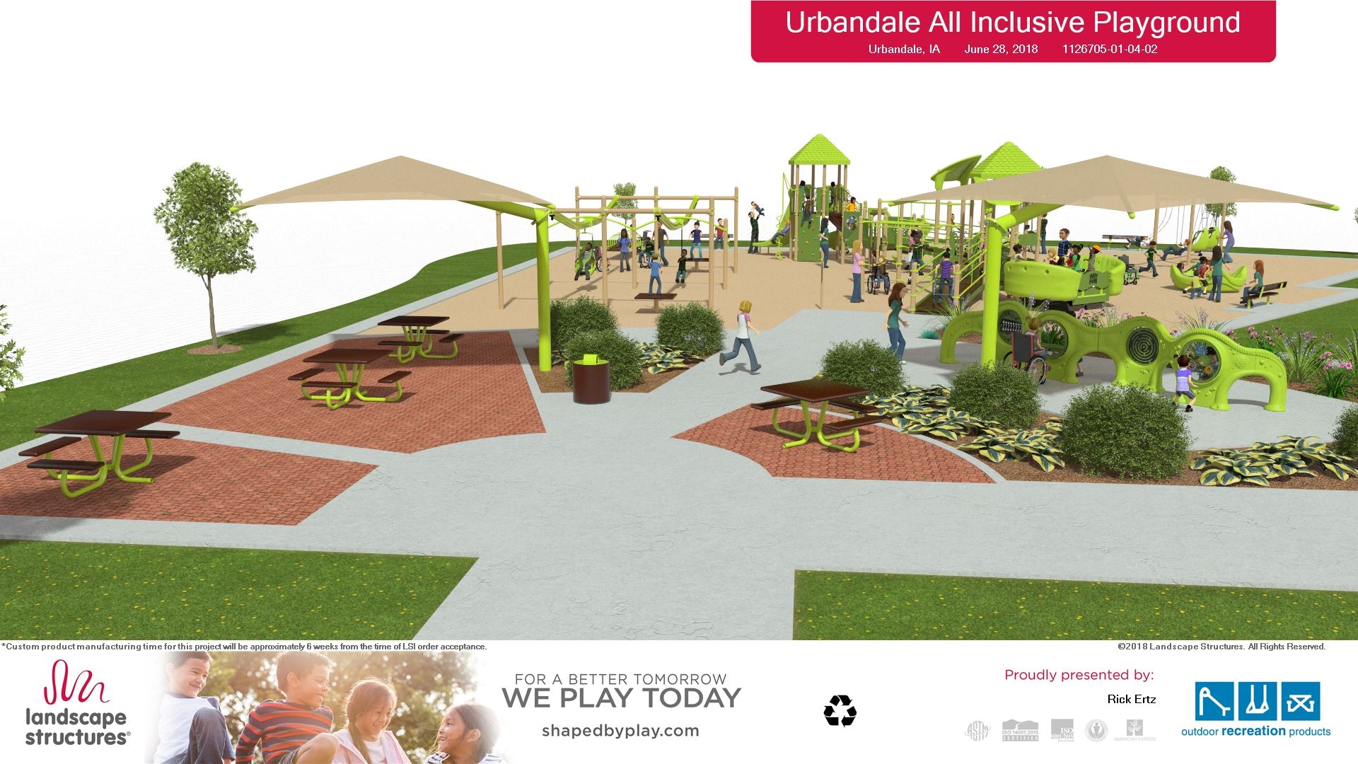 7-5-18  Playground rendering -view 4 - by plaza -  Landscape Structures