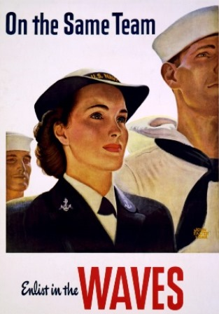 "Women Accepted for Volunteer Service (WAVES), ""On the Same Team, Enlist in the Waves"""