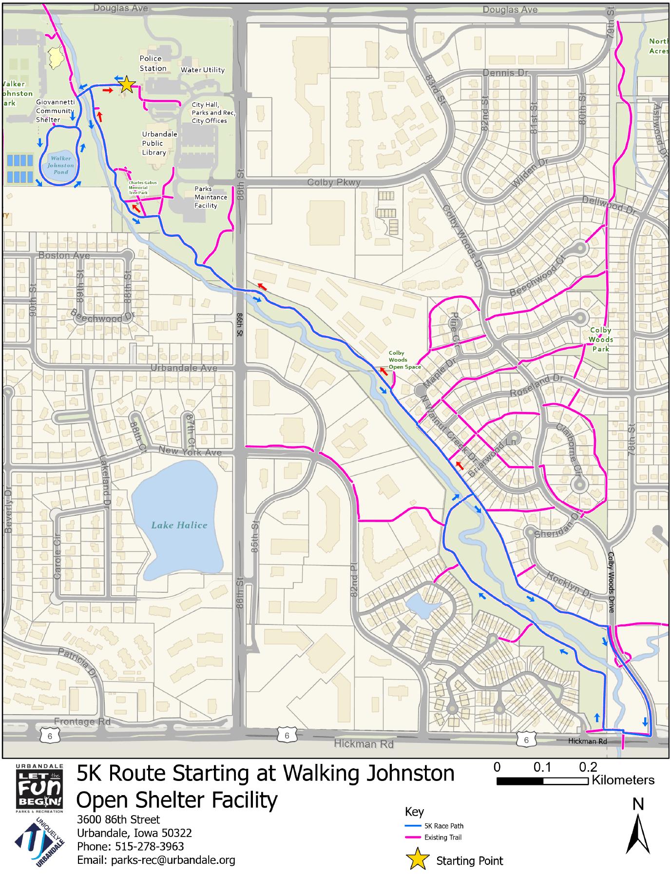 2018 Map of 5k Run