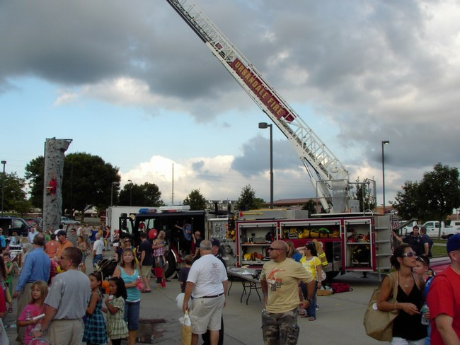 The Fire Department is present at a large event