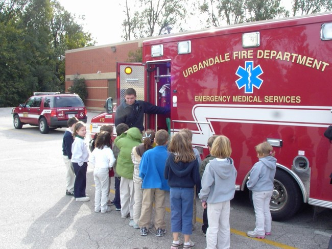 Children learn about the Fire Departments ambulance