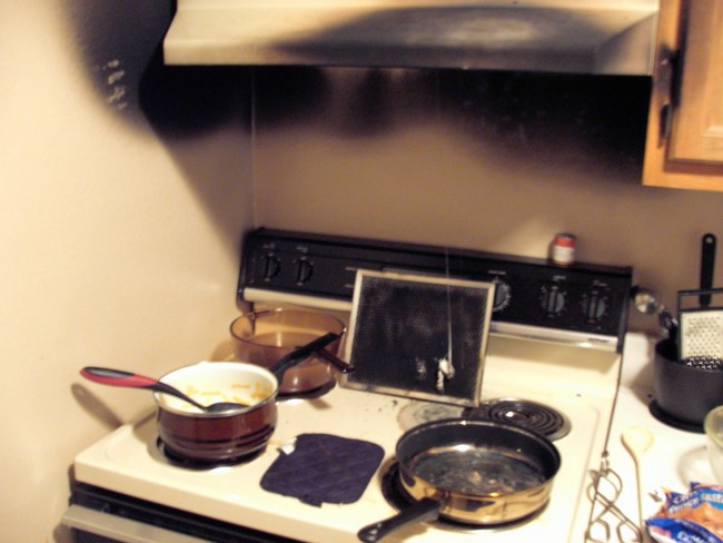 Smoke/fire damage in a kitchen