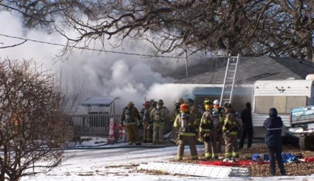 Fire damages a house during the winter