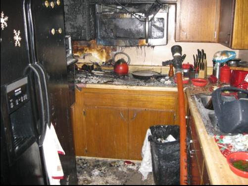 A fire has left a kitchen severely damaged