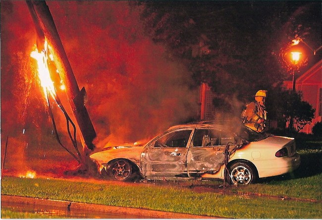 A car is totaled by fire